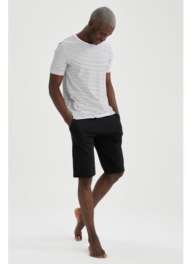 DeFacto Regular Fit Çizgili Pijama Takımı Siyah